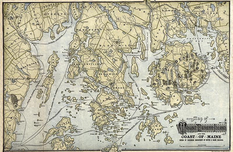 Antique map of Mount Desert Island and the coast of Maine