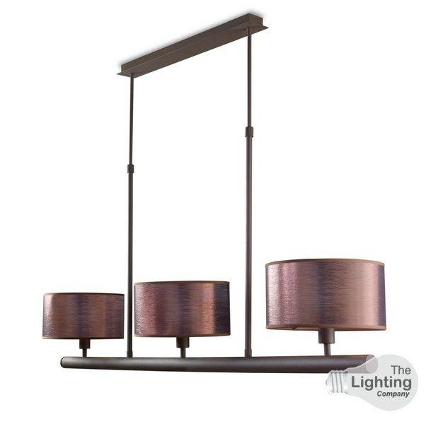 LA CREU Lighting - SPICA Ceiling Light, Rusty Brown, Old Copper Silk Shades - 20-4369-Z6-V7
