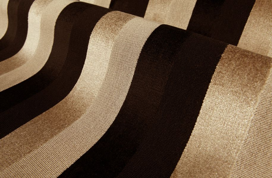 Delica Stripe Taupe Black Tan Upholstery Fabric