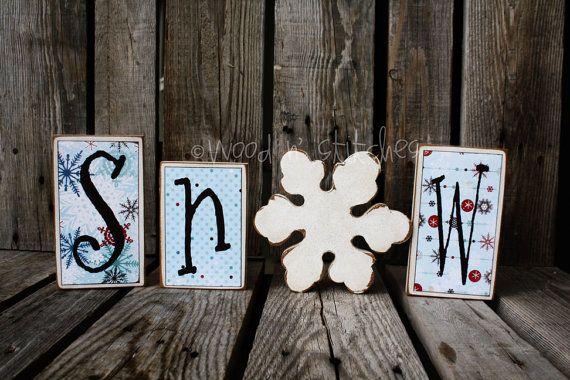 Winter Christmas SNOW Block Primitive Wood Set with glittery snowflake snowman collector home seasonal decor