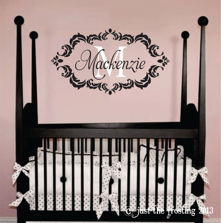 Childrens Decor Baby Nursery Wall Decal Personalized Monogram - Monogram wall decal for nursery