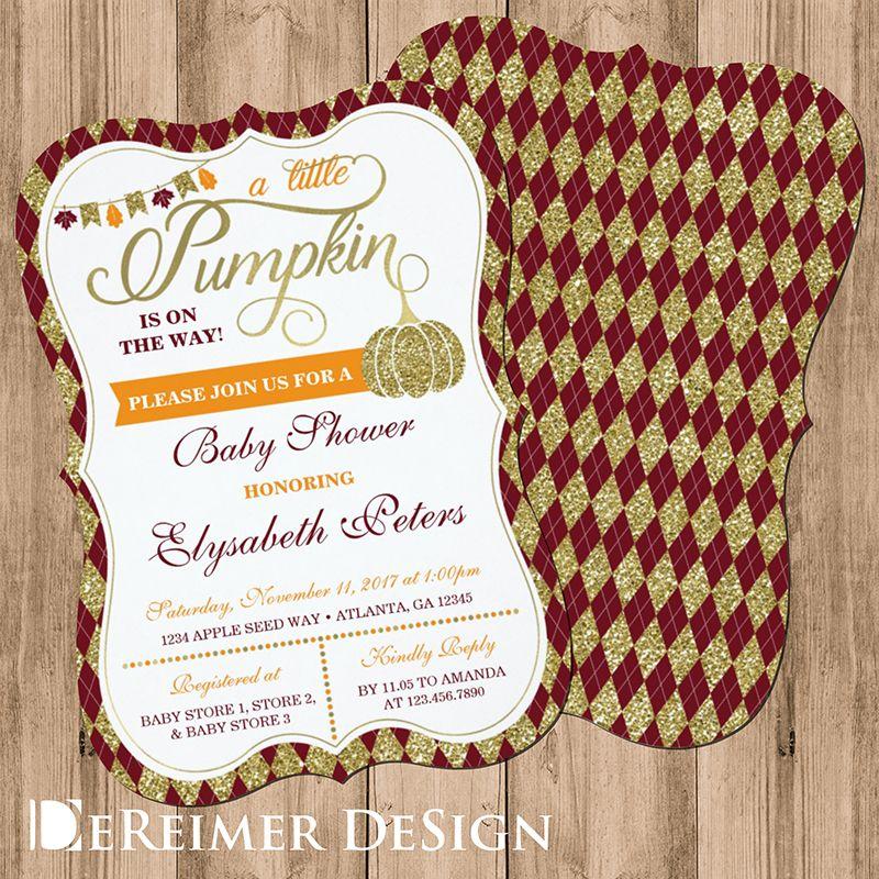 Little Pumpkin Baby Shower Invitation, Faux Gold Card   Pumpkin baby ...