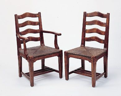 3228 English Ladderback Side Chair With Rush Seat And 3227 Arm