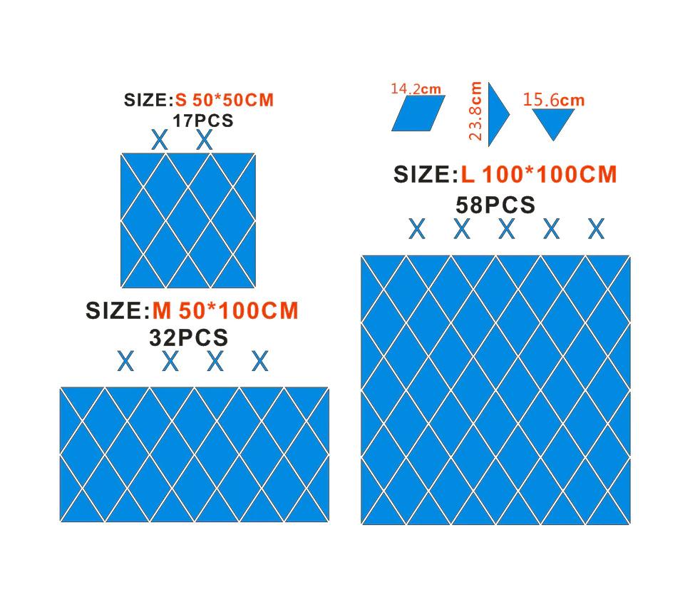 3D Wall Mirror Stickers Acrylic Diamonds Triangles DIY 17//32//58 Pcs Home Decor