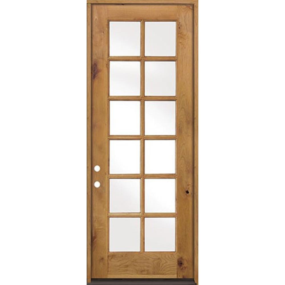 Krosswood Doors 32 In X 96 In Classic French Alder 12 Lite Clear Low E Glass Right Hand Unfinished Wood Exterior Prehung Front Door Phed Ka 412 28 80 134 Rh With Images Wood Front Doors Glass Doors Interior Rustic Doors