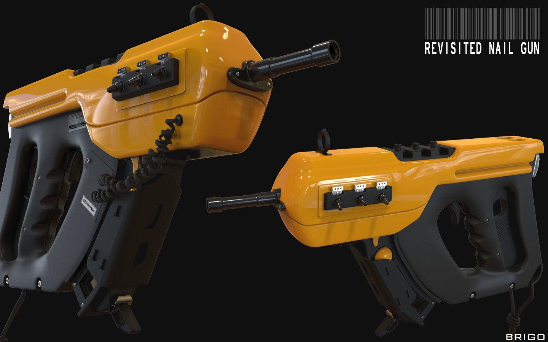 ArtStation - Revisited Nail gun, Luca Brighi   Sci-fi weapons ...