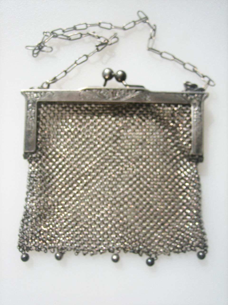 Reasonable Antique Art Nouveau Floral German Silver Frame 5 Ball Fringe Mesh Coin Purse A Great Variety Of Goods Vintage Bags, Handbags & Cases