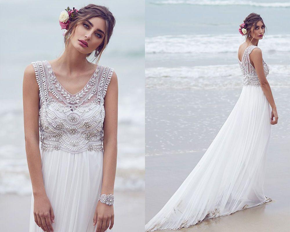 New White Chiffon Vintage Beadings Bridal Gowns Beach Wedding ...