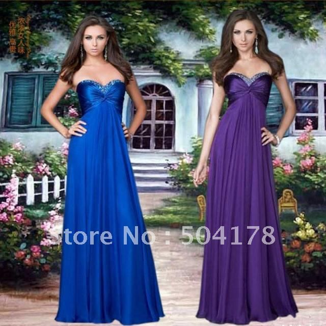 Free Shopping Top Quality Wedding Dress Long Tube Formal Blue Purple High Grade Wiping