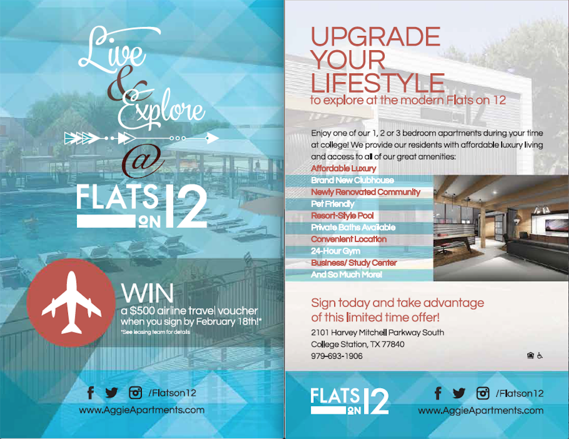 Check Out The Front And Back Of One Of Our Clients Flats On 12 Flyer That Our Design Team Created Property Management Apartment Marketing Real Estate Flyers