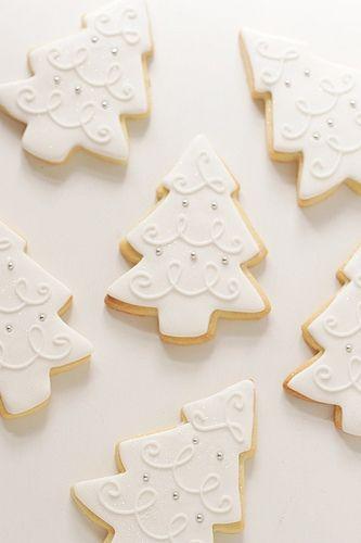 White Christmas tree cookies