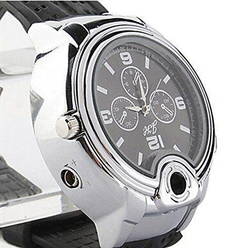 Accendino da uomo / orologio da polso 2 in 1, con mini serbatoio a butano ricaricabile, colore: nero EURO 11,32