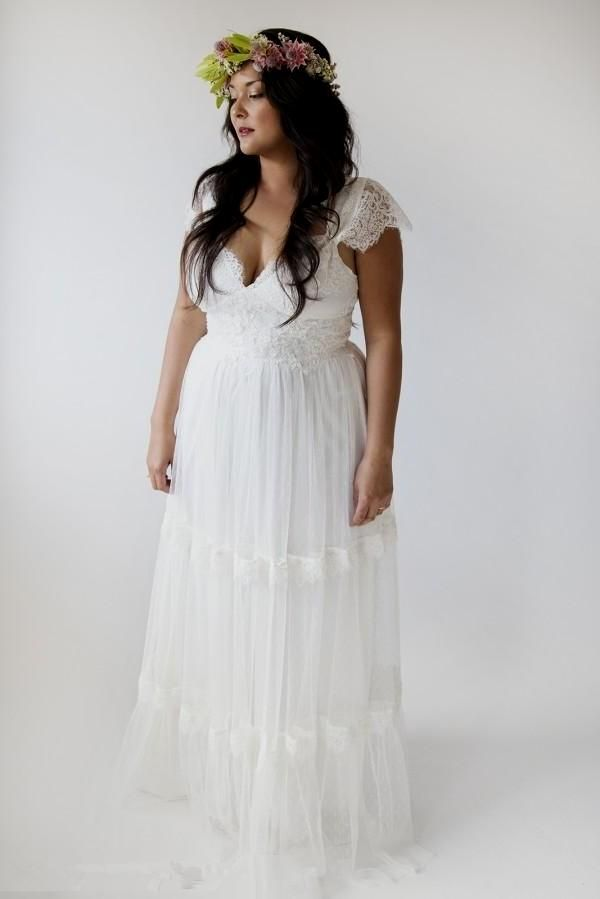 bohemian wedding dresses plus size a line bridal gowns vintage