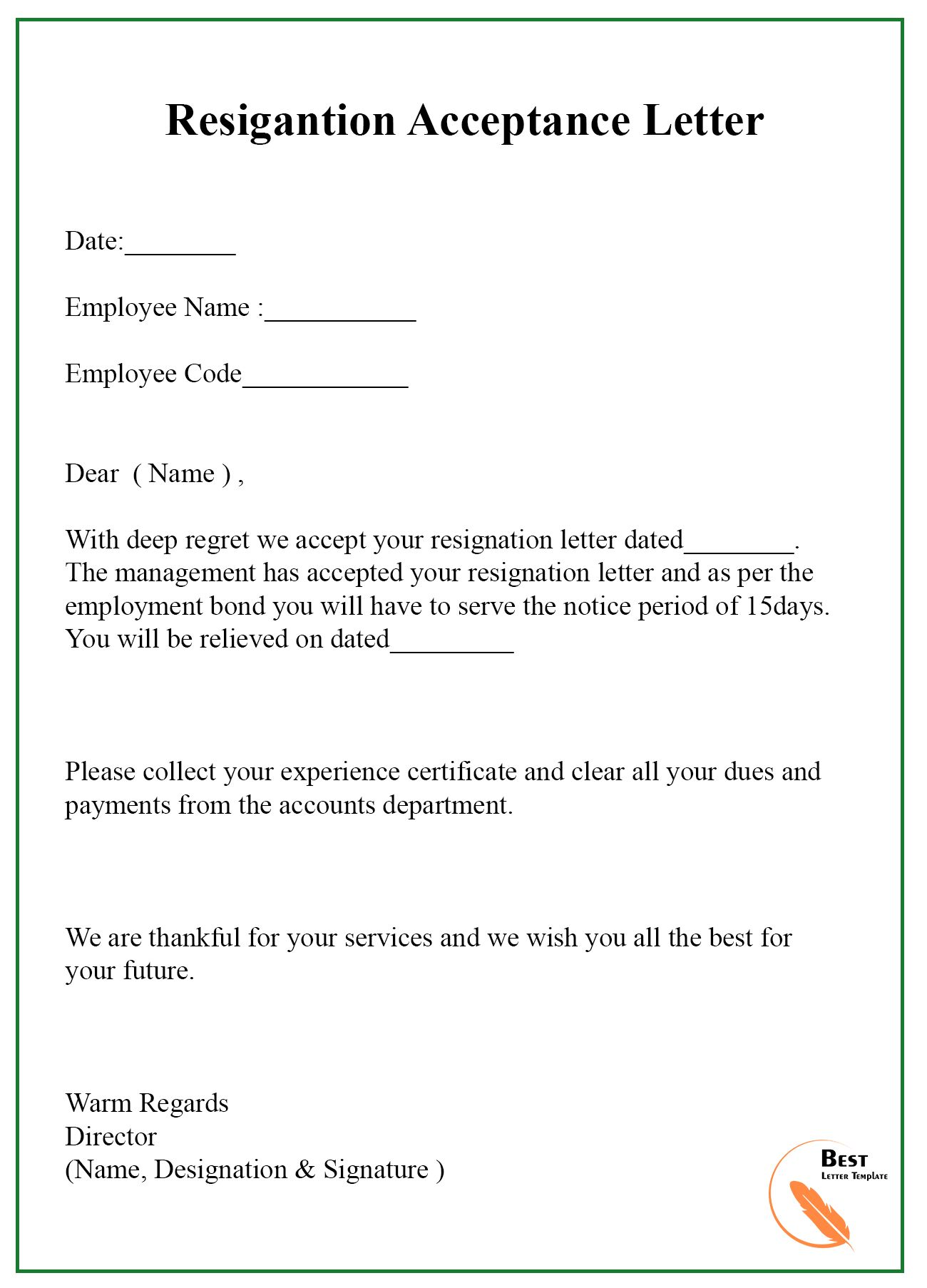 9+ Resignation Acceptance Letter Template [Examples
