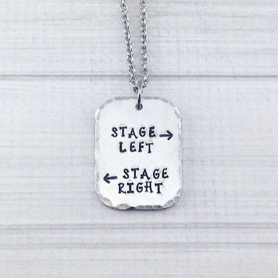 Stage Left Stage Right Theatre Performer Thespian Necklace - Break a Leg Opening Night Closing Night Gift