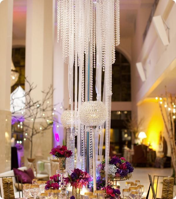Tall Hanging Crystal Chandelier Centerpiece And Candle Holder With Ball Top Mixed Jewel Tone