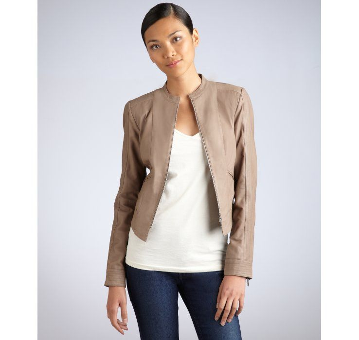 Womens Taupe Leather Jacket Varsity Apparel Jackets