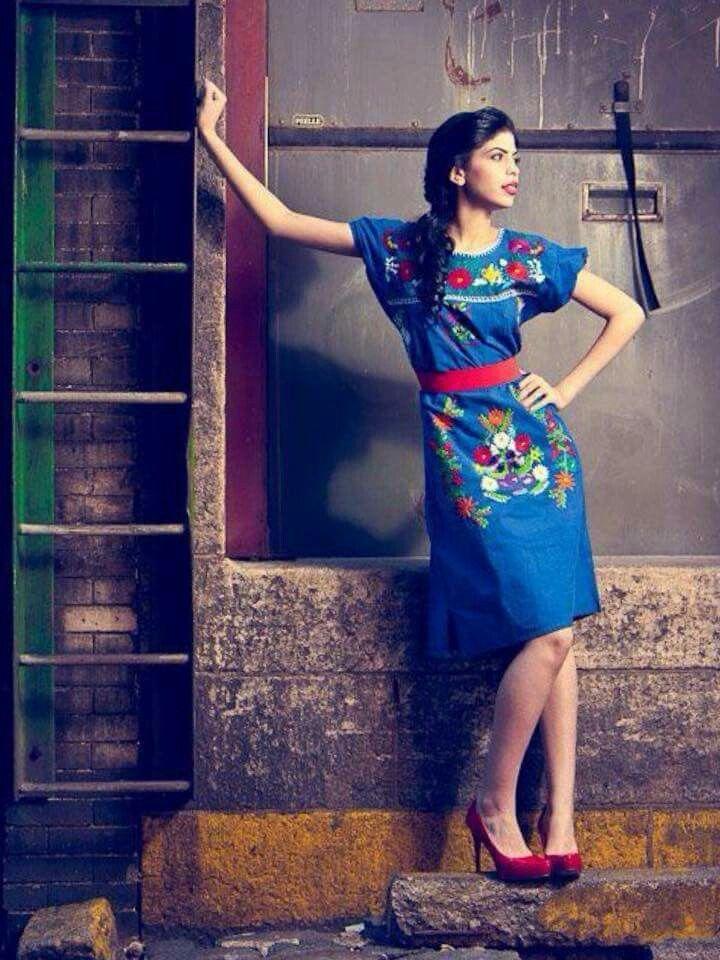 Vestido azul | Bordados Ⓜ❌ | Pinterest | Vestidos azules, Azul y ...