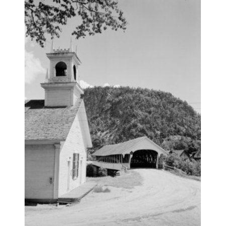 USA New Hampshire Stark Church with covered bridge Canvas Art - (18 x 24)