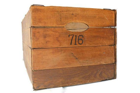 Wooden Folding Box, Antique Wooden Box, Primitive Wood Box, Vintage Wood  Crate, 1940u0027s Hubbard Advertising Box, Storage Crate, Storage Box