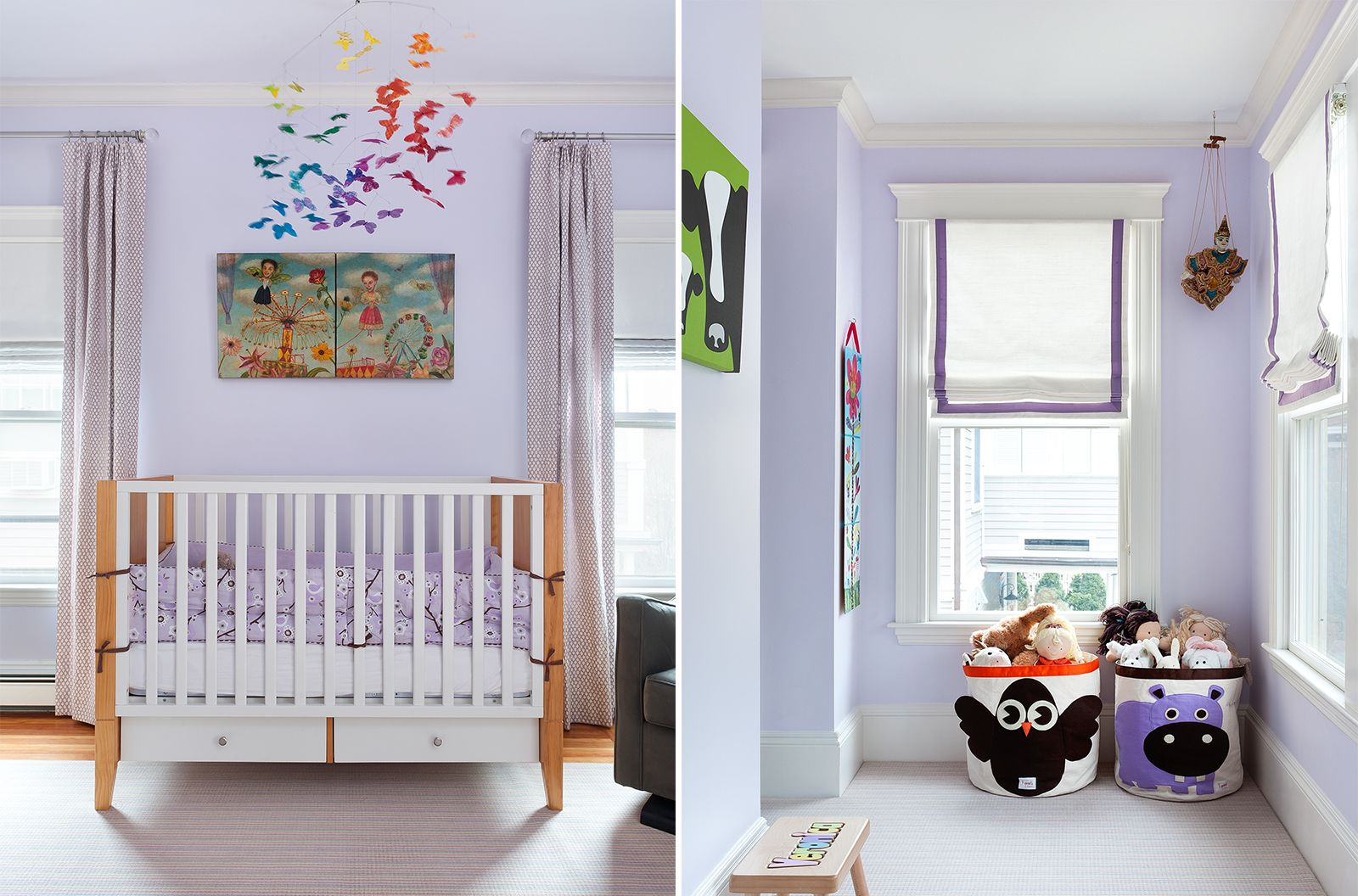 Mandarina Studio Boston Nursery Interior Design Contemporary Baby Room Colorful Crib Mobile Erflies Animal Toy