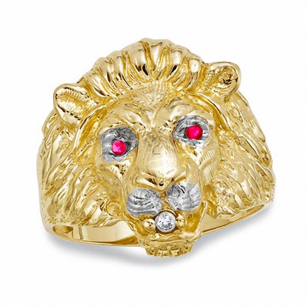 Men S Lion Ring With Lab Created Ruby And Diamond Accents