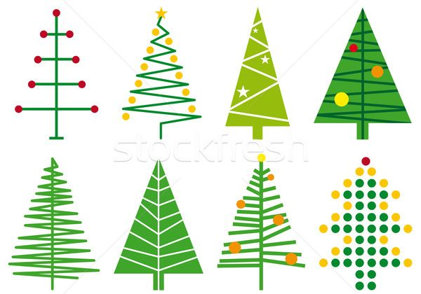 Simple Vector Designs Vector Illustration Set Of Simple Modern Christmas Tree Desig With Images Christmas Tree Design Christmas Tree Drawing Contemporary Christmas Trees