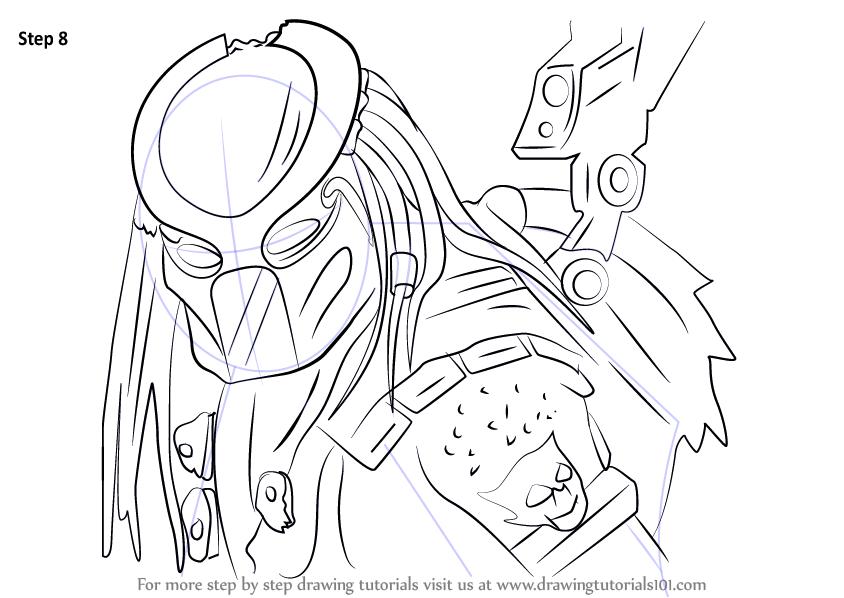 Step By Step How To Draw Predator From Mortal Kombat X Drawingtutorials101 Com In 2020 Predator Artwork Predator Predator Art