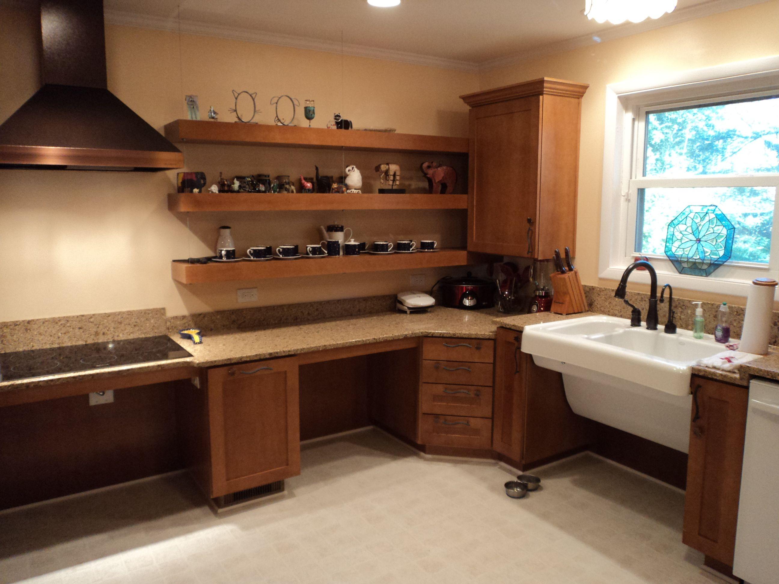 Open Space Under Counters Wheelchair Reachable Wall Storage Kitchen Design Kitchen Innovation Kitchen Table Makeover