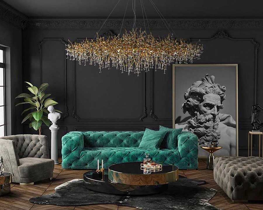 Photo of Art Deco style luxury black and teal living room with restoration hardware soho sofa replica