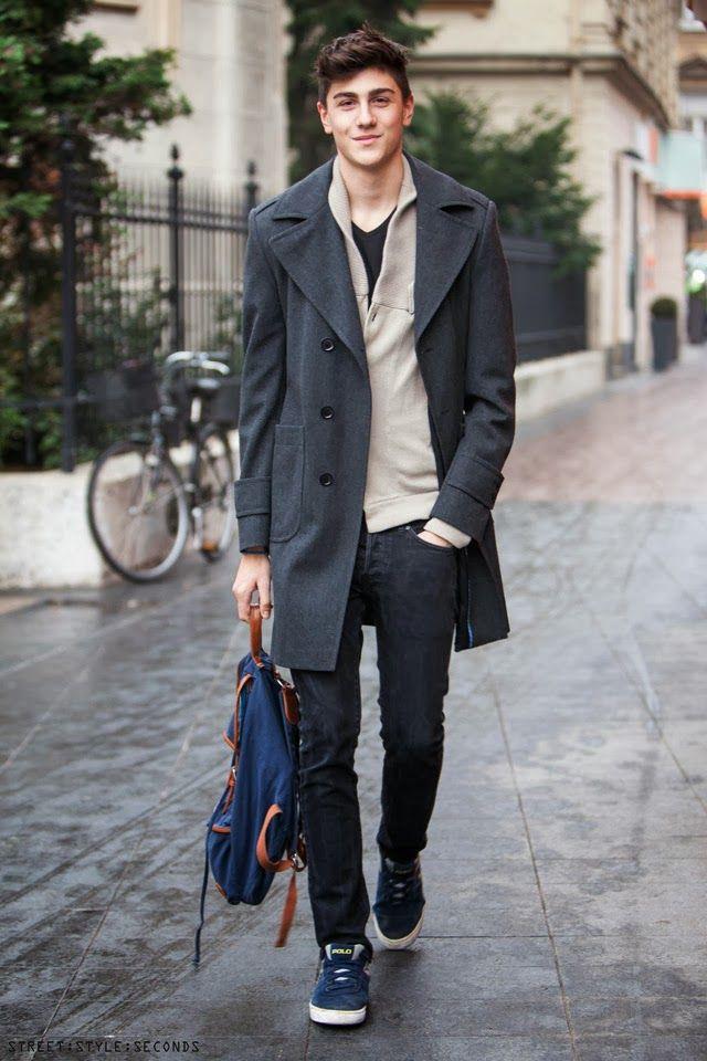 Man in modern design gray coat, mans winter 2013 fashion coats