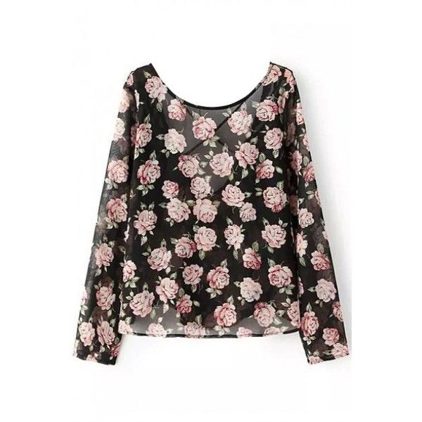 LUCLUC Black Floral Printed Cross Back T-Shirt (77 BRL) ❤ liked on Polyvore featuring tops, t-shirts, lucluc, floral print tee, criss cross back top, black t shirt, floral print t shirt and black top