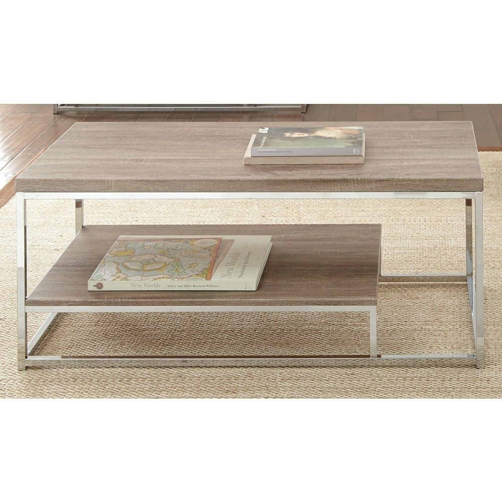 Faux Driftwood Coffee Table: Lennox Chrome And Faux Wood Coffee Table