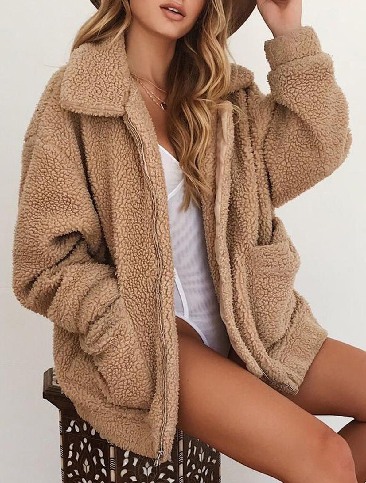 Aurora Popular Oversized Soft Comfy Sherpa Teddy Jacket Pixie Coat Coats Jackets Women Fashion Cool Outfits [ 1576 x 1192 Pixel ]