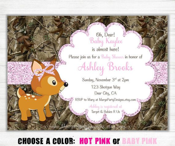 Glitter oh deer script baby shower invitation by maryspartydesigns items similar to pink camo baby shower invitation girl glitter oh deer doe hunting camouflage printable diy digital on etsy filmwisefo