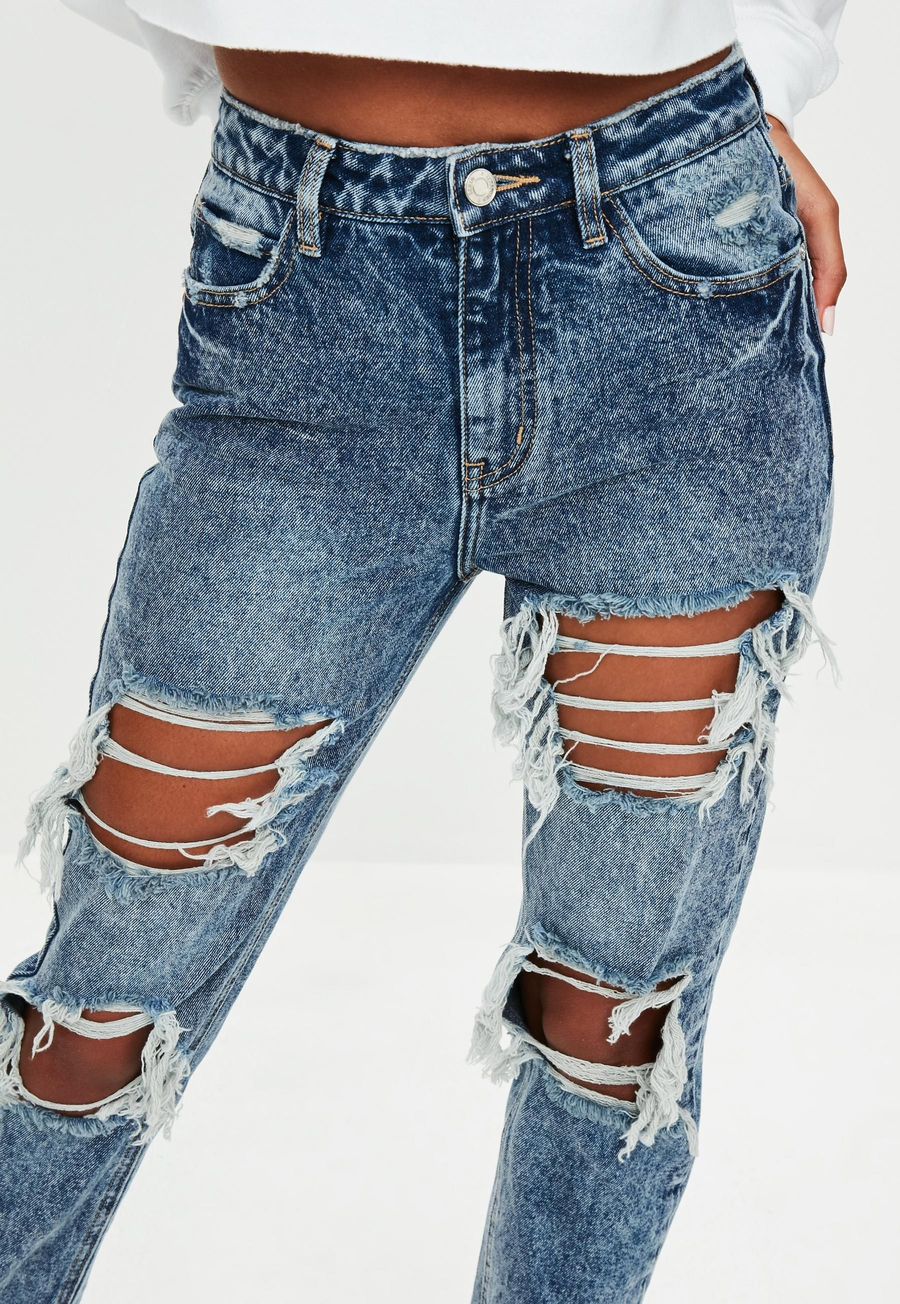 29d3362e9cd Blue Riot High Rise Open Rip Mom Jeans   Missguided   i want these ...