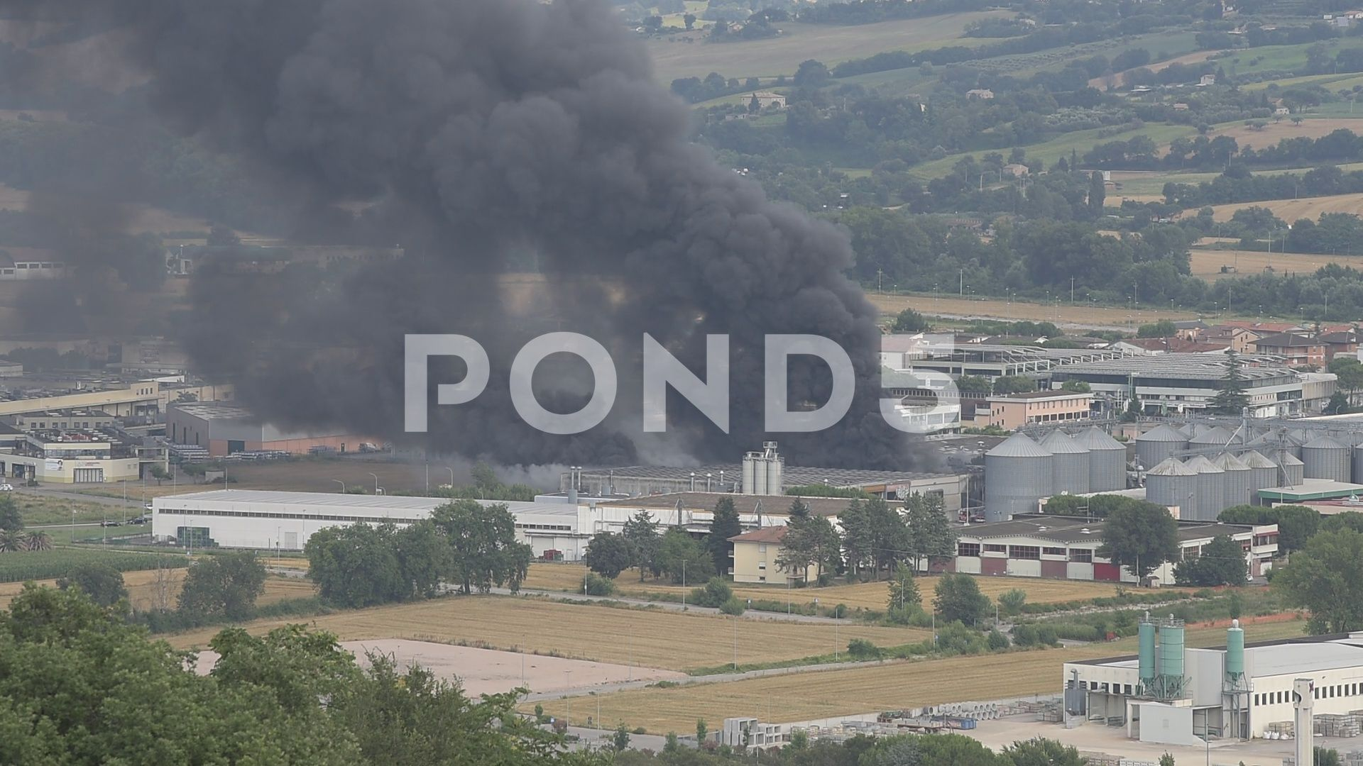 Fire broke out in a industrial waste disposal plant Stock Footage industrialwasteFirebroke