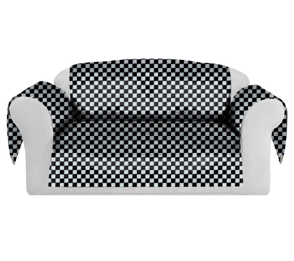 Checkers Decorative Sofa / Couch Covers Collection Black White