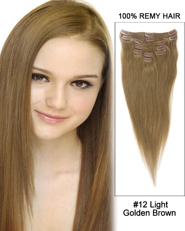 30 7pcs Straight 100 Remy Hair Clip In Hair Extensions 12 Light