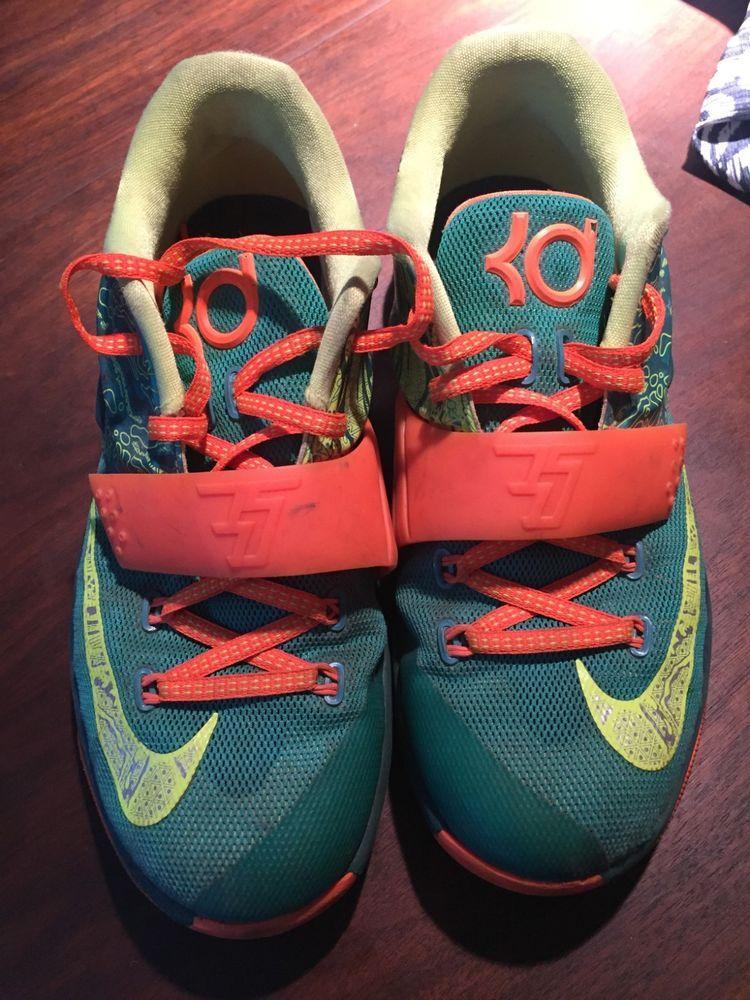Nike Sneakers KD Boys Size 6 Orange Green Pre owned Original