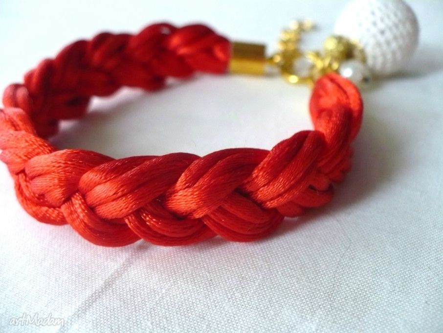 Satynowa Bransoletka Z Zawieszkami Czerwien Satyna Serce Rope Bracelet Bracelets Jewelry