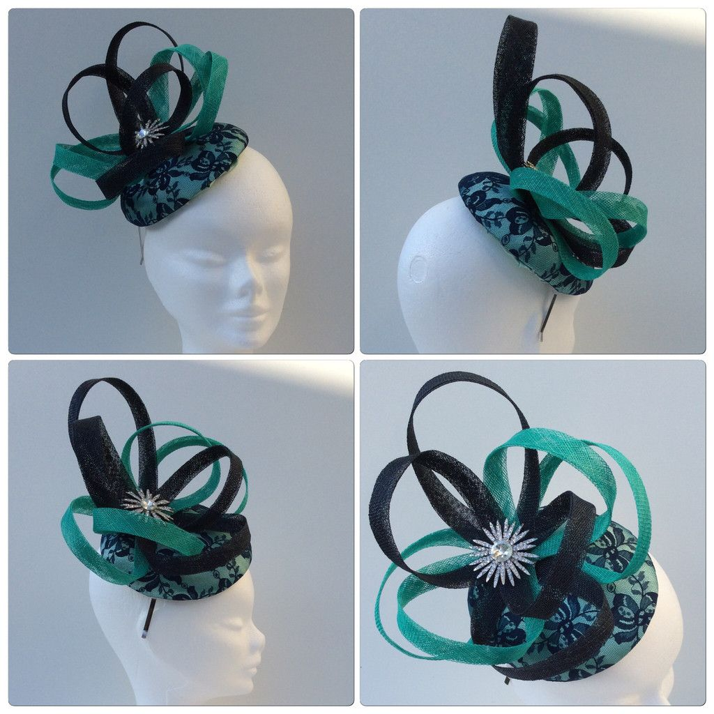 Mint and navy fascinator in 2018  71d21a02ca1