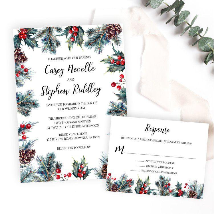 Rustic Botanical Winter Wedding Invitation Christmas Wedding Invitations Winter Wedding Invitations Holly Wedding