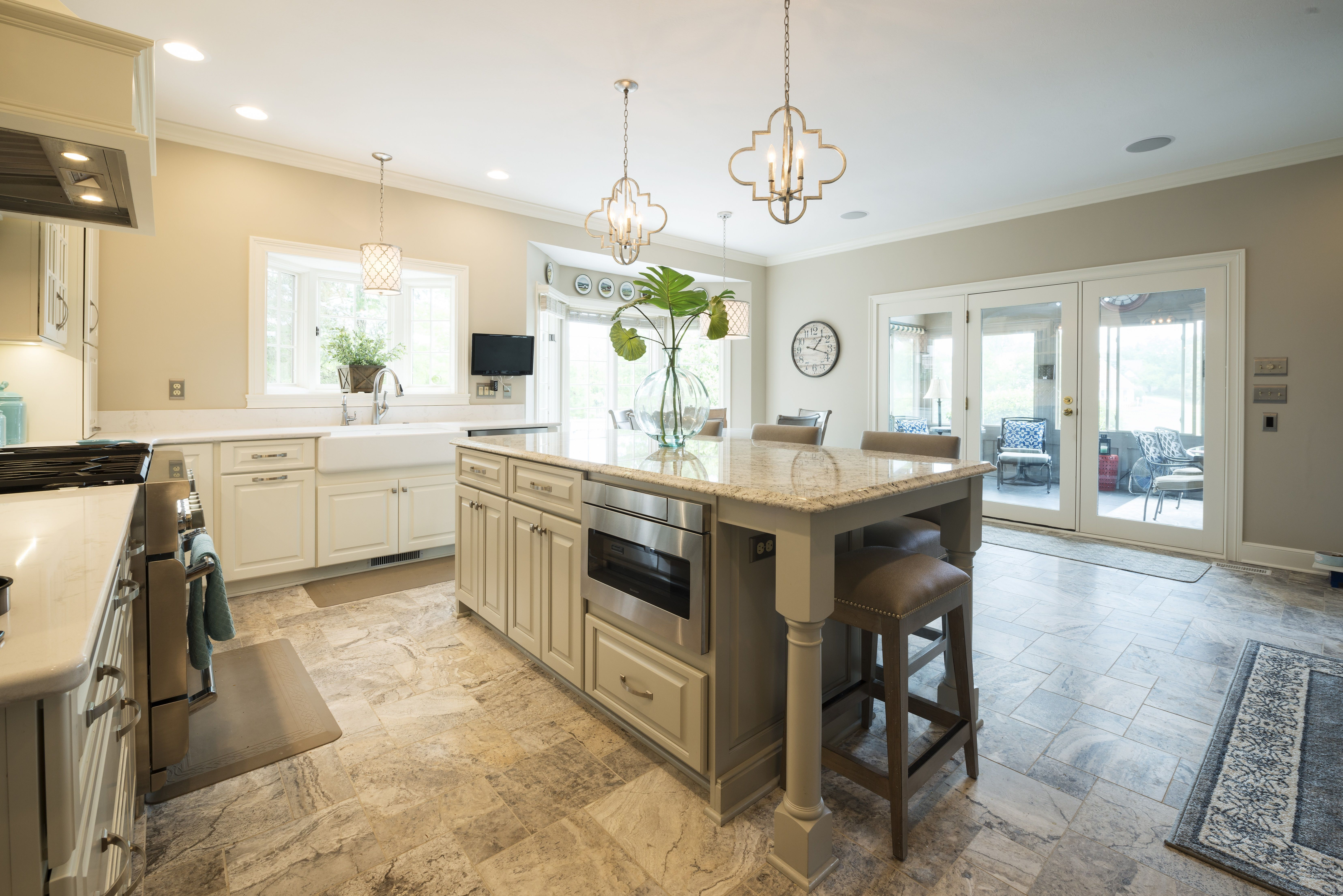 Modern kitchen remodel in indiana pendant lighting painted