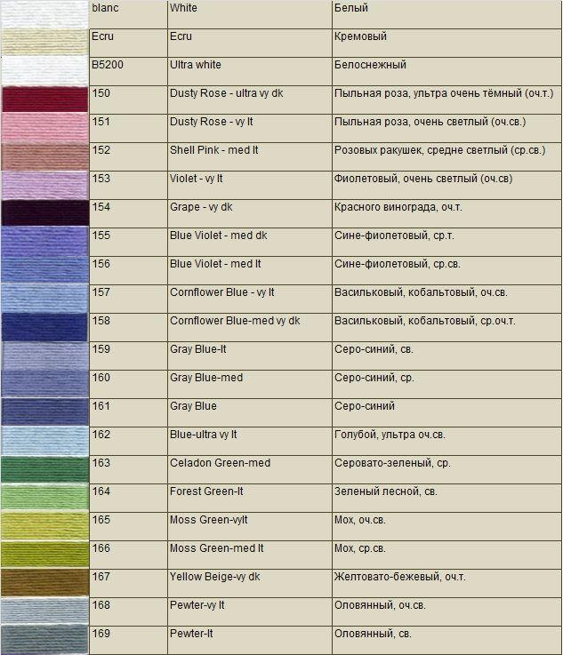 Мулине анкор карта цветов с названиями цвета