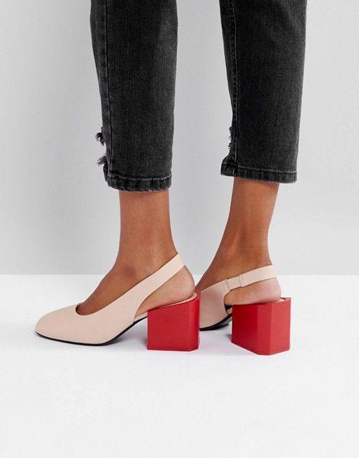 Mango Contrast Block Heel Slingback