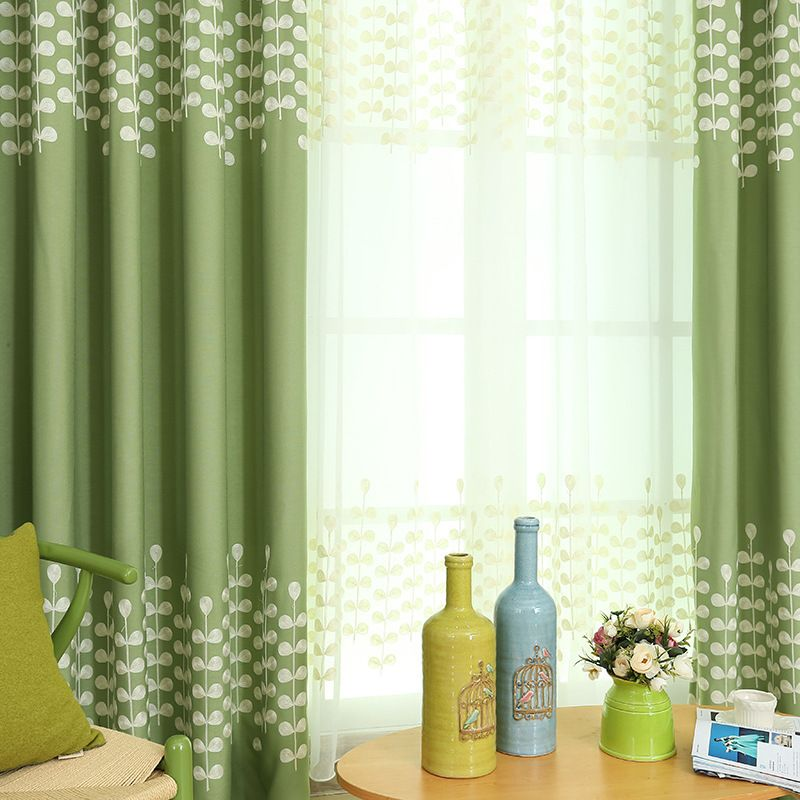 Sage Green White Leaf Pattern Funky Jacquard Living Room Curtains Sheers Sage Green Curtains Curtains Living Room Lime Green Curtains