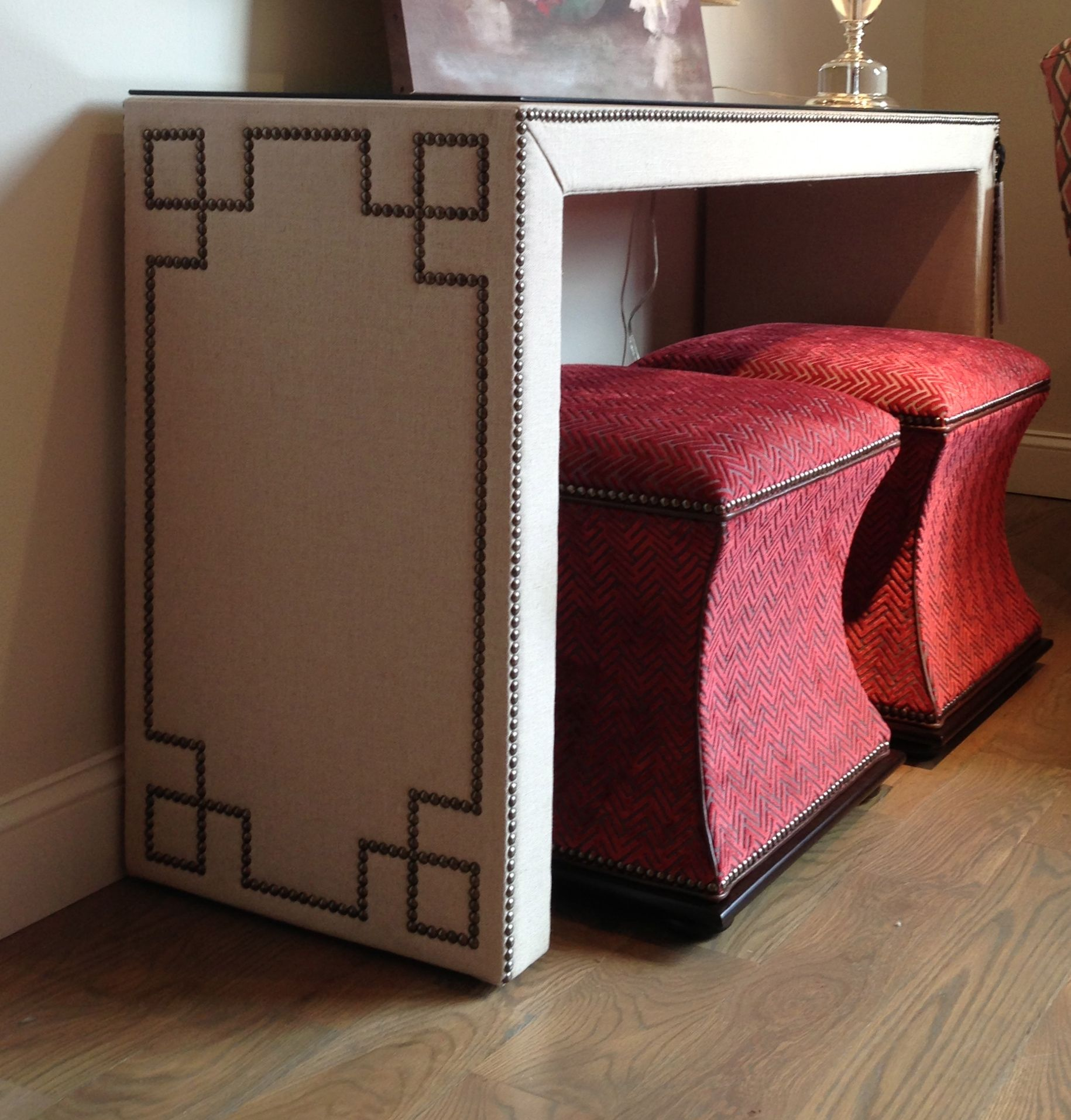 Wesley Hall Linen Wrapped Console Table With Geometric Nailhead Detail  Http://www.