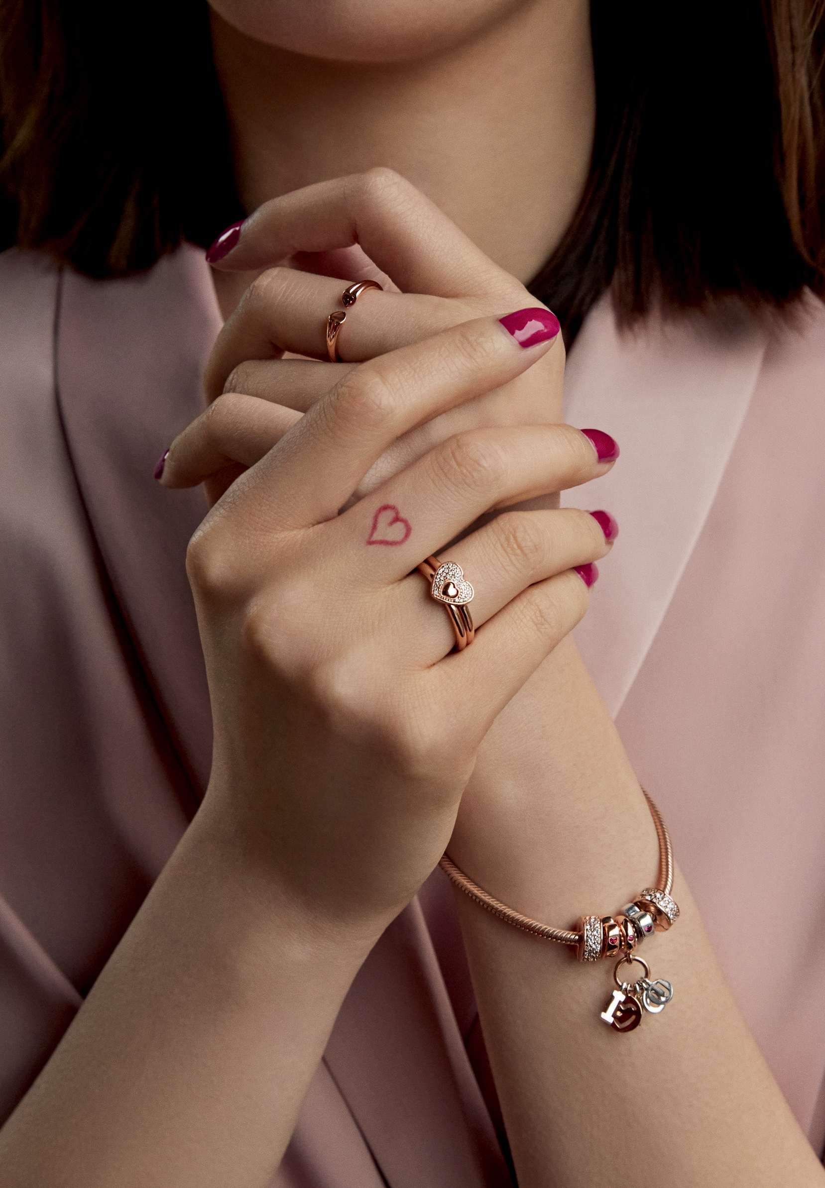 4d816615e This Valentine's Day, put a romantic spin on your fingers with blush-hued  PANDORA Rose rings, the perfect match for sterling silver styles.