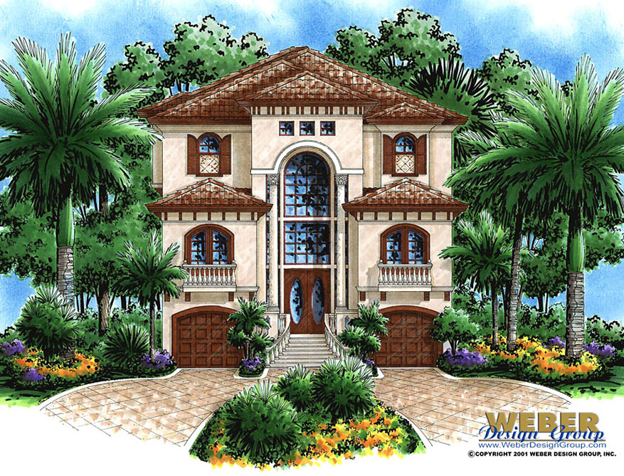 Mediterranean House Plan Coastal Narrow Lot Beach Home Floor Plan Mediterranean Style House Plans Luxury Mediterranean Homes Mediterranean Homes